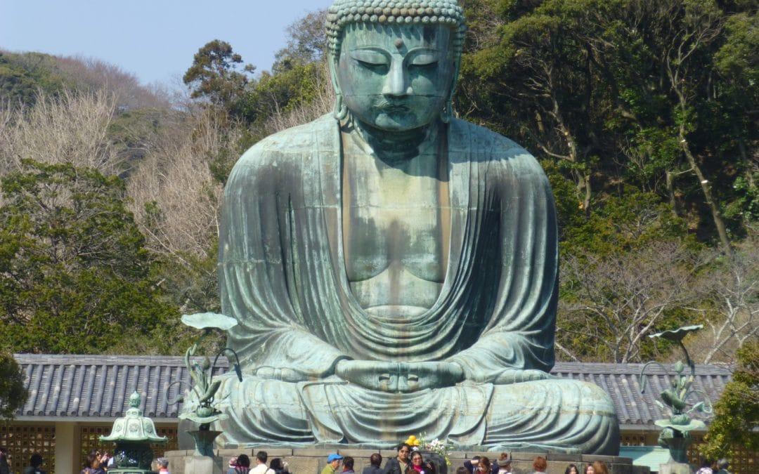 Great Buddha Statue In Coastal Town of Kamakura