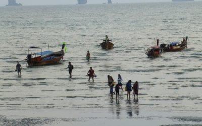 Longtail Boats Returning Beach Lovers to Ao Nang, Thailand