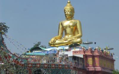Giant Buddha Gazes Down the Mekong River in Thailand