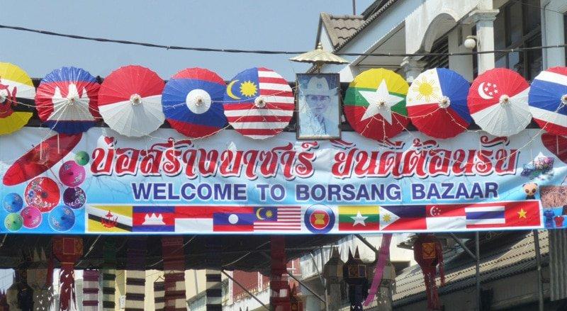 Visiting the Umbrella Factory in Borsang, Thailand
