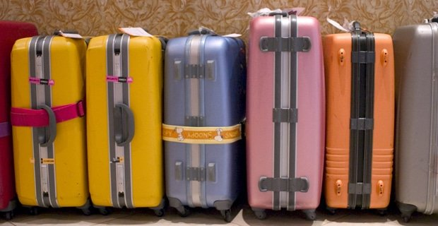 luggage lined up at airport for travel